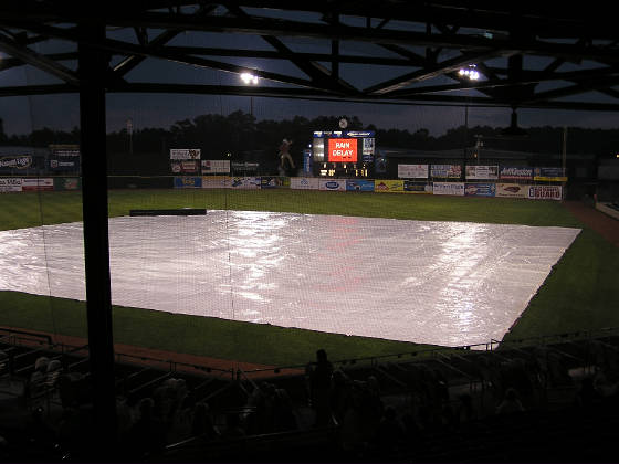 Rain Delay in Kinston, NC - Grainger Stadium